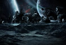 Astronauts exploring an asteroid 3D rendering elements of this i Royalty Free Stock Photos