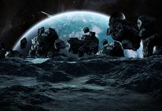 Astronauts exploring an asteroid 3D rendering elements of this i. Astronauts with spaceship exploring an asteroid in space 3D rendering elements of this image Stock Photography