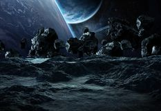 Astronauts exploring an asteroid 3D rendering elements of this i Royalty Free Stock Photo