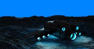 Astronauts exploring an asteroid 3D rendering. Astronauts exploring an asteroid with a futuristic spaceship 3D rendering Stock Photo