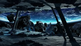 Astronauts exploring an asteroid spaceship 3D rendering elements Royalty Free Stock Photos