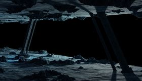 Astronauts exploring an asteroid spaceship 3D rendering elements Stock Image