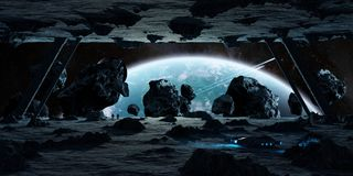 Astronauts exploring an asteroid spaceship 3D rendering elements. Astronauts exploring a huge asteroid alien spaceship in space 3D rendering elements of this Royalty Free Stock Photo
