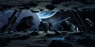 Astronauts exploring an asteroid spaceship 3D rendering elements Stock Images