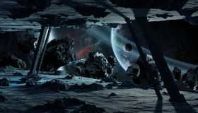 Astronauts exploring an asteroid spaceship 3D rendering elements Royalty Free Stock Image