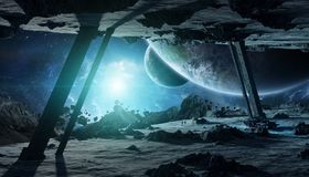 Astronauts exploring an asteroid spaceship 3D rendering elements Royalty Free Stock Images