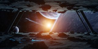 Astronauts exploring an asteroid spaceship 3D rendering elements. Astronauts exploring a huge asteroid alien spaceship in space 3D rendering elements of this Royalty Free Stock Photos