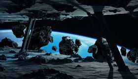 Astronauts exploring an asteroid spaceship 3D rendering elements Stock Photo