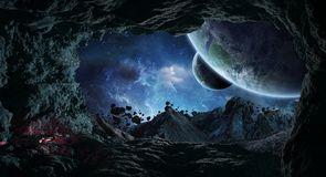Astronauts exploring a cave in asteroid 3D rendering elements of Royalty Free Stock Photo