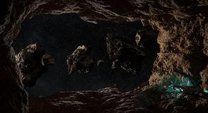 Astronauts exploring a cave in asteroid 3D rendering elements of Royalty Free Stock Photography