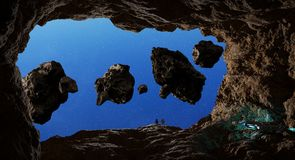 Astronauts exploring a cave in asteroid 3D rendering elements of Stock Photos