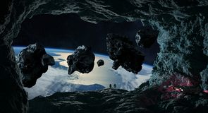 Astronauts exploring a cave in asteroid 3D rendering elements of Royalty Free Stock Photos