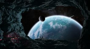 Astronauts exploring a cave in asteroid 3D rendering elements of Stock Photo