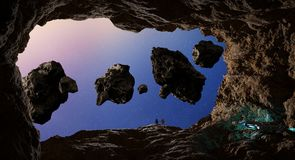 Astronauts exploring a cave in asteroid 3D rendering elements of. Astronauts with spaceship exploring a cave in asteroid in space 3D rendering elements of this Stock Photos