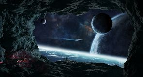 Astronauts exploring a cave in asteroid 3D rendering elements of. Astronauts with spaceship exploring a cave in asteroid in space 3D rendering elements of this Royalty Free Stock Photos