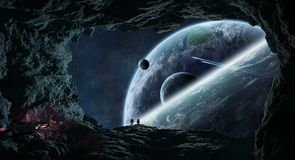 Astronauts exploring a cave in asteroid 3D rendering elements of. Astronauts with spaceship exploring a cave in asteroid in space 3D rendering elements of this Royalty Free Stock Photography