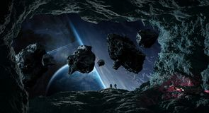 Astronauts exploring a cave in asteroid 3D rendering elements of. Astronauts with spaceship exploring a cave in asteroid in space 3D rendering elements of this Royalty Free Stock Photo