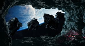 Astronauts exploring a cave in asteroid 3D rendering elements of Stock Image