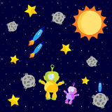 Astronauts floating in space. Illustration of astronauts and rocket ships floating in outerspace with the sun and stars.  Also in vector format Stock Photo