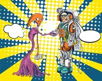 Space Man comic art.Astronauts fly in The space and atmosphere background.Comic Space man Halftone and Pop art style. Astronauts fly in The space and atmosphere Stock Image