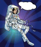 Space Man comic art.Astronauts fly in The space and atmosphere background.Comic Space man Halftone and Pop art style. Astronauts fly in The space and atmosphere Royalty Free Stock Images