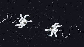 Astronauts flying in space. Illustration of couple cartoon astronauts flying in deep space Stock Photos