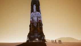 Astronauts go to the Rover after landing in a rocket on. Panoramic landscape on the surface of Mars. Realistic cinematic