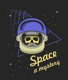 Astronauts helmet with a dead man. Vector illustration poster space helmet with a skull Royalty Free Stock Images