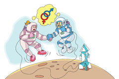 Astronauts in Love, illustration Royalty Free Stock Photography