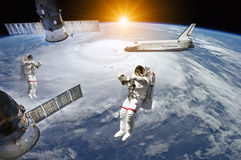 Astronauts in outer space - Elements of this image furnished by NASA Royalty Free Stock Image