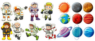 Astronauts and planets. Group of astronauts and the planets on a white background Stock Photography