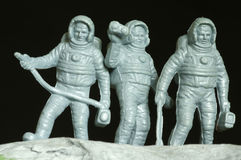 Astronauts plastic toys. Objects outer space Stock Photography