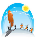 Astronauts and the rocket. Astronauts runing towards the rocket Royalty Free Stock Photos