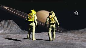 Astronauts on satellite of Saturn Stock Photo