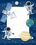 Astronauts & Satellite Vertical Frame. Vertical photo frame with Saturn, the Earth, the Moon, a satellite orbiting and two spacemen floating on a blue outer Royalty Free Stock Photos