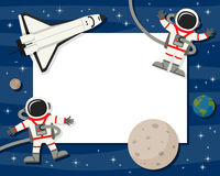 Astronauts & Shuttle Horizontal Frame. Horizontal photo frame with planets of the solar system, the Earth, a space shuttle and two spacemen floating on a blue Stock Images