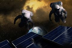 Astronauts in space . Black hole in space, earth and spacecraft .  Elements of this image furnished by NASA . View on the Earth . People in space. Studying of Stock Photo