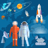 Astronauts in space cosmonaut, orbits, planets, rockets. Astronauts in space: cosmonaut orbits, planets, rockets, spacecraft, study space shuttle vector Royalty Free Stock Photography