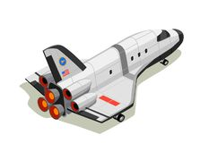 Space Shuttle Isometric Composition Royalty Free Stock Images
