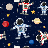 Astronauts Spacemen Seamless Pattern. A cartoon seamless pattern with astronauts or spacemen and planets,  on dark blue background with bright stars. Eps file Royalty Free Stock Photography