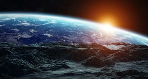 Astronauts exploring an asteroid 3D rendering elements of this i Stock Image