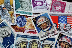 Astronauts on stamps Stock Image
