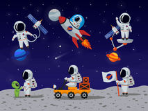 Astronauts vector characters set in flat cartoon style. Astronaut cartoon, character astronaut, person astronaut, human spaceman illustration Stock Photo
