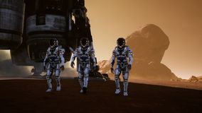 Astronauts walk on the surface of Mars after landing in a rocket. Panoramic landscape on the surface of Mars. Realistic