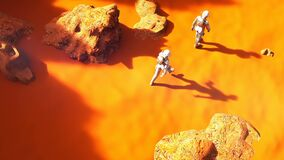 Astronauts walking on Mars. A futuristic concept of a colonization of Mars.