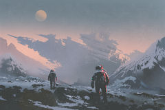 Astronauts walking to derelict spaceship on alien planet. Sci-fi concept of astronauts walking to derelict spaceship on alien planet, illustration painting Royalty Free Stock Photo