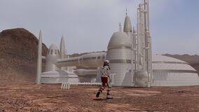 Astronauts wearing space suit walking on the surface of mars. Exploring mission to mars. Futuristic colonization and