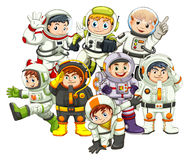 Astronauts. Wearing spacesuit and helmet Stock Images