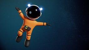astronautteckenet för tecknade filmen 3d med den orange utrymmedräkten som framlägger ett tomt utrymme som tänds av solen, och st Arkivbild