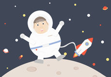 Astronauttecknad film i yttre rymdvektor stock illustrationer